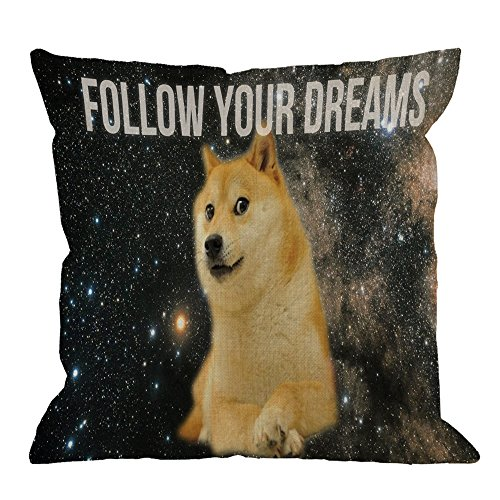 HGOD DESIGNS Doge Pillow Space Doge Cotton Linen Throw Pillow Case Square Cushion Cover Standard Pillowcase for Men Women Home Decorative Sofa Armchair Bedroom Livingroom 18 x 18 inch