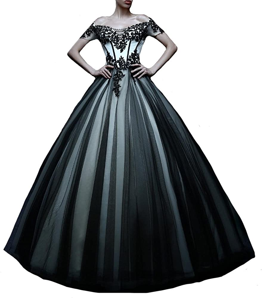 Kivary White And Black Tulle Gothic Lace Prom Dresses Wedding Gowns
