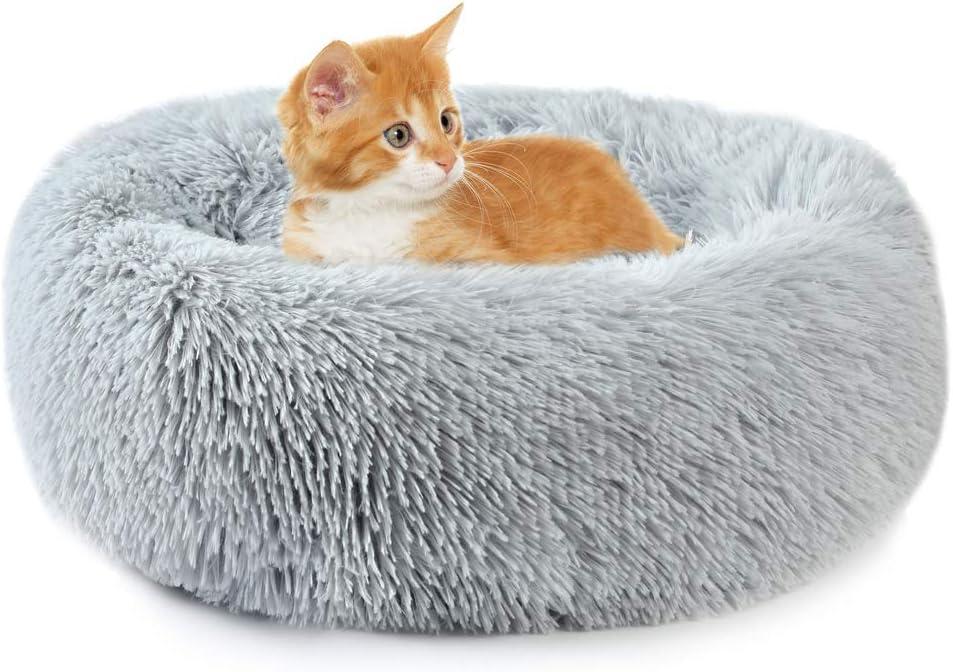 Vanansa Cama para Perros pequeños, autocalentable, Redonda, de Felpa, para Perros medianos y pequeños, para Mejorar el sueño y Mantener el Calor, Gris 40 cm