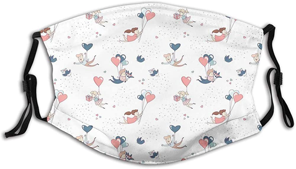 Sweet Doodle of Flying Girl and Boys with Heart Shaped Ballo Face Mask Reusable Washable Masks Cloth for Men and Women Size:Adult