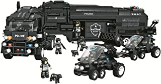 YeoMark City Police SWAT Mobile Command Center Big Building Set 1492pcs, Police Truck and Trailer Command Station with 8 Figures and Guns Construction Toys