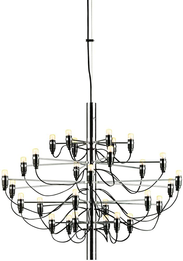 Flos lampada a sospensione a luce diffusa. struttura centrale in ferro e bracci in ottone, entrambi cromati, A1400057