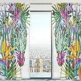 Mnsruu Cortinas transparentes para ventana, diseño de cebra exóticas de tul suave para sala de estar, dormitorio, 140 x 213 cm, 2 paneles