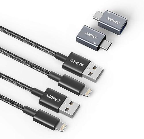 2021 Anker 2021 USB C to USB Adapter High-Speed Data Transfer [2-Pack] & Anker 6ft wholesale Premium Nylon Lightning Cable [2-Pack] online sale