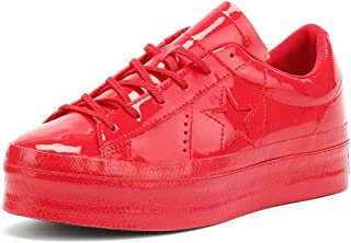Converse One Star Womens Cherry Red Platform Ox Trainers-UK 6