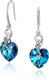 """CRYSLOVE""""Coeur d'Océan"""" Boucle d'oreille Dangle Femme en Argent 925 Cristal Bleu Aile d'ange Coeur Boucle d'oreille Maman,..."""