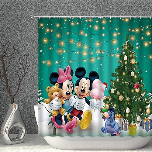 Duschvorhang, Weihnachtsbaum, Cartoon-Maus, für Kinder, Grün, Ozeanblau, dekorativer Stoff, 177 x 178 cm, Polyester mit Haken