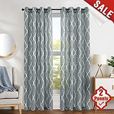 Moroccan Tile Print Curtains for Living Room Curtain - Quatrefoil Flax Linen Blend Textured Grommet Lattice Window Curtain Set for Bedroom Geometry - 50 W x 63 L - (Charcoal Grey, Set of 2 Panels)