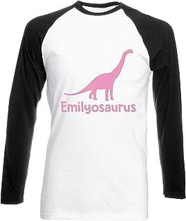 Julie Alcott Personalised Your Name osaurus Brachiosaurus Dinosaur Pink Womens Long Sleeve Baseball Two Tone t-Shirt