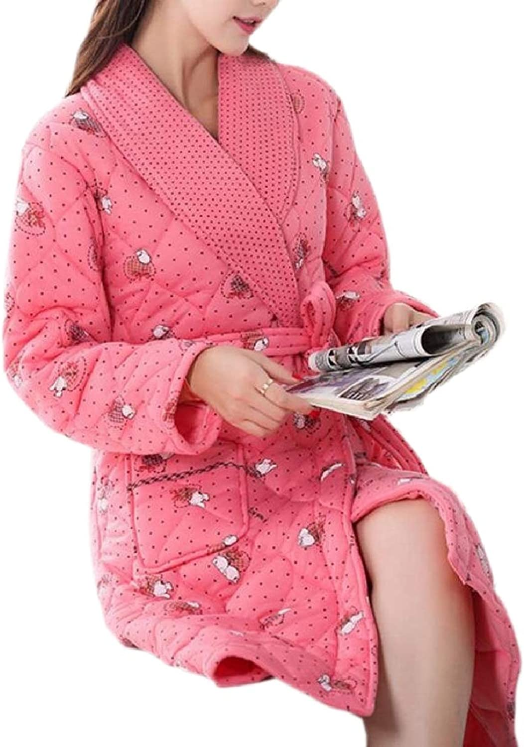 CBTLVSN Women's Thick Quilted Print Lapel Comfort Home Wear Bathrobe Robe