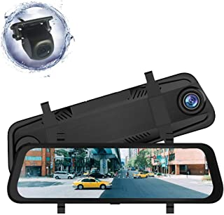 ZENAN Mirror Dash Cam 9.66 inch Full Touch Screen,Stream Media Dash Camera,Full HD 1080P Front Camera and 1080P Rear View Camera, Wide Angle Backup Camera with Night Vision Parking Monitor