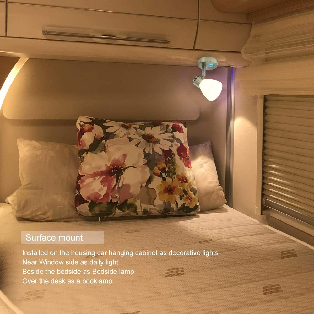 DC 10-30V Surface Mounting Boat Yacht Caravan Camper Motorhome with Blue Night Small Light 3W Warm White Brushed Nickel Glass Shade 12V RV Bedside Reading Light Dimmer Adjustable Touch Switch