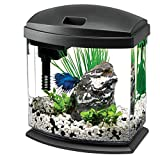 Aqueon LED Minibow Aquarium Starter Kits with LED Lighting, 1 Gallon, Black