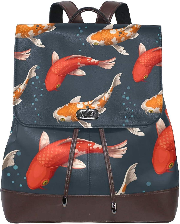 DEZIRO Leather Beautiful Fancy Carps School Pack Backpacks Travel Bag