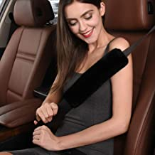 Soft Australian Genuine Sheepskin Wool Auto Seat Belt Cover Seatbelt Shoulder Pad for a More Comfortable Driving, Compatible with All Cars
