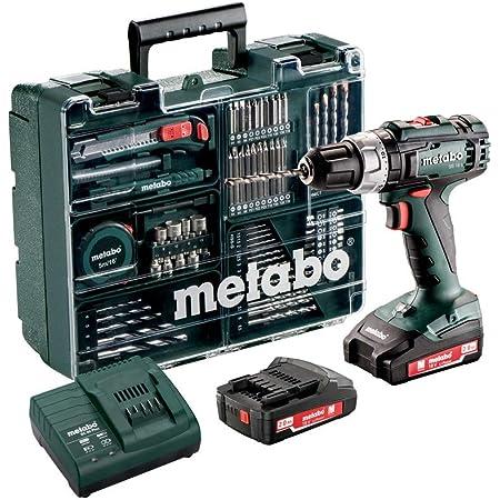 Metabo Akku Schlagbohrschrauber SB 18 L (2 Akkus 2,0 Ah, 18 V, Schlagschrauber mit Koffer + umfangreiches Zubehör-Set) 602317870, Schwarz