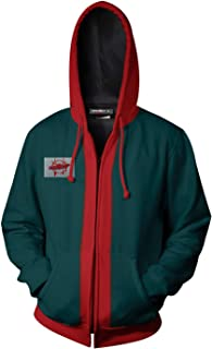 Adult Miles Morales Hoodie Sweatshirt Zipper Jacket Coat Cosplay Costume Green