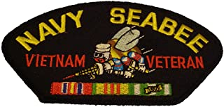 NAVY SEABEE VIETNAM VETERAN with BEE and SERVICE RIBBONS PATCH - Great Color - Veteran Owned Business