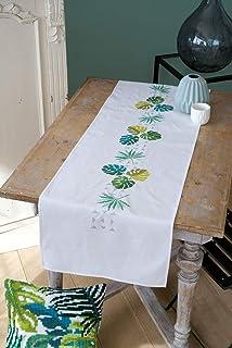 Vervaco Bedruckter Langer Läufer grüne Blätter Stickpackung, Baumwolle, Weiß, 38 x 142 cm