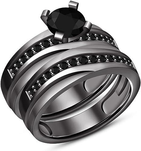 Vorra Fashion Sterling-Silber, rund mit SchwarzCZ Damen Verlobung Braut Ring Set