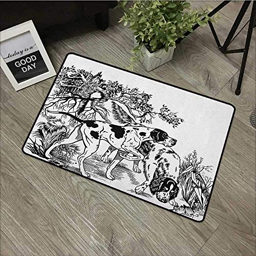 azfvveu Printed Door Mat Hunting,Hunting Dogs In The Forest Monochrome Drawing English Pointer and Setter Breeds, Black White Non-Slip Door Mat Carpet 16x24(IN)