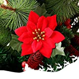 10 Pack Christmas Flowers Red Poinsettia Artificial Velvet Silk Flower with Green Leaves Glitter Gold Christmas Tree Ornaments Party Holiday Decoration Indoor Outdoor Use