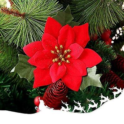 10 Pack Christmas Flowers Red Poinsettia Artifi...