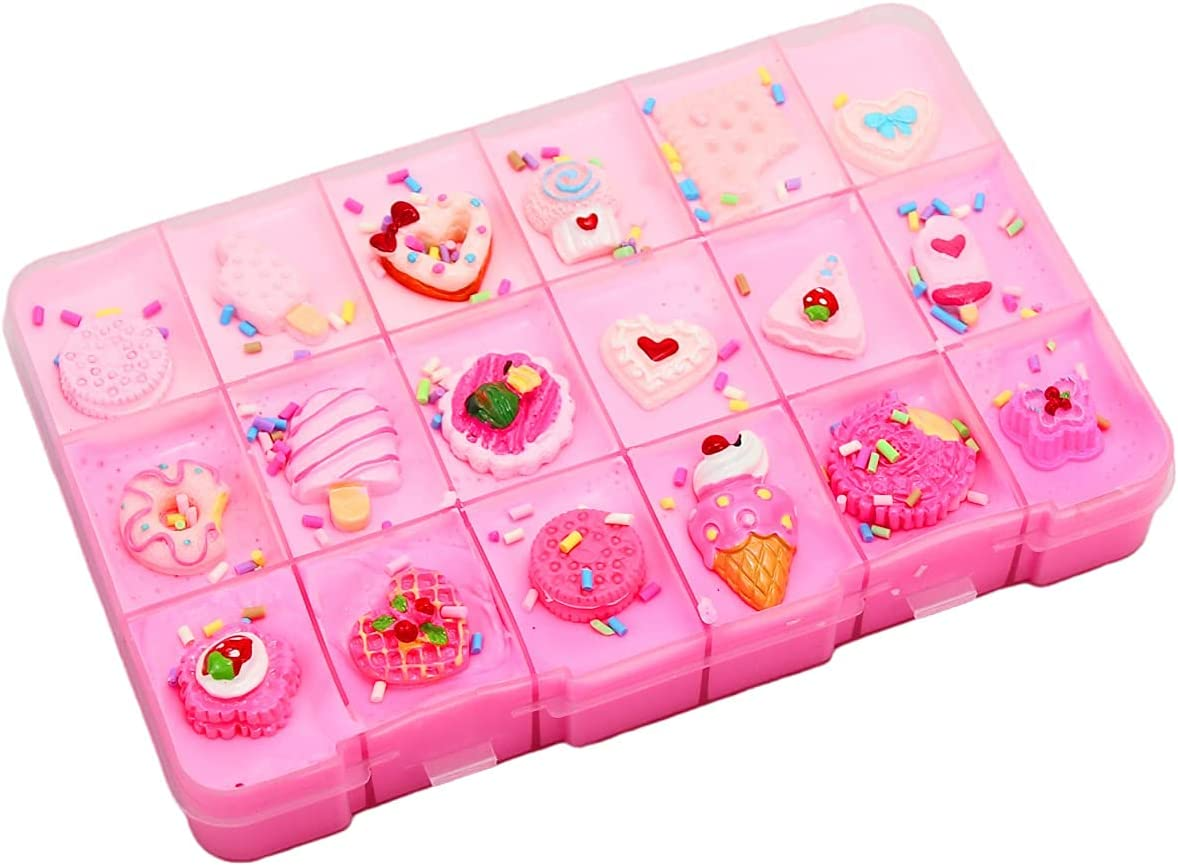 SWZY Slime Fluffy, Fruit Slime, Platter Slime,on Ricos Accesorios de decoración de Galletas/Helados, Juguetes de Masilla Antiadherente para niños y niñas, Serie Rosa