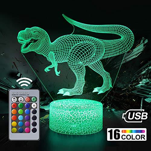 Dinosaurier 3D Nachtlicht für Kinder, LED Nachtlicht Lampe mit 16 Farben Ändern und Fernbedienung, Coole Geburtstag Weihnachten Geschenke für Baby Freunde