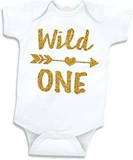 1st Birthday Girl Outfit Baby Girl 1st Birthday Bodysuit Wild One (6-12 Months)