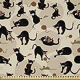 ABAKUHAUS Katze Stoff als Meterware, Haus-Haustier, das mit