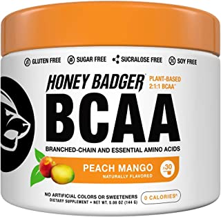 Honey Badger Vegan Keto BCAA + EAA Electrolyte Powder | Peach Mango | Natural Gluten Free Amino Acids Essential Aminos Sug...