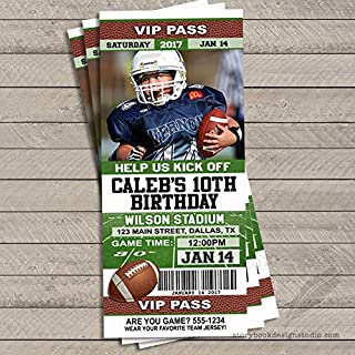 Football Ticket Birthday Party Invitations (Set of 10) Personalized