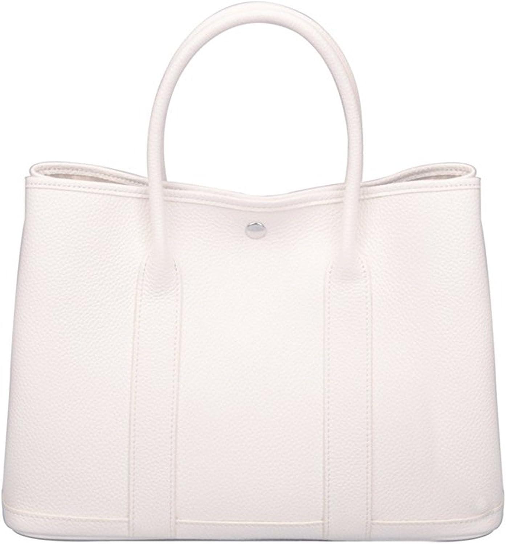 Genuine Leather Tote Bag Top Handle Handbags White