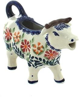 Blue Rose Polish Pottery Garden Bouquet Cow Creamer