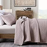 Quilt Set King Size Cameo Rose, Classic Geometric Spots Stitched Pattern, Pre-Washed Microfiber Chic Rustic Look, Ultra Soft Lightweight Quilted Bedspread for All Season, 3 Pieces