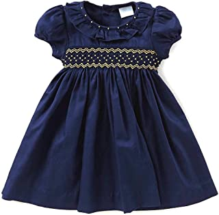 Edgehill Collection Smocked Dress Solid Navy/Gold Cotton Woven, 2T