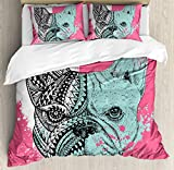 Ambesonne Modern Duvet Cover Set, French Bulldog Split with and Paintbrush Vivid Artwork Print, Decorative 3 Piece Bedding Set with 2 Pillow Shams, Queen Size, Seafoam Pink