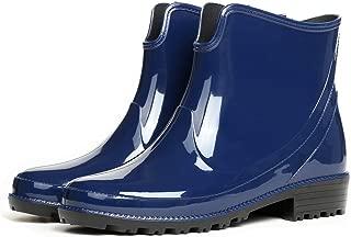 Womens Shiny Short Ankle Rain Boots Rubber Waterproof Rain Shoes