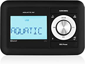 Aquatic AV CP6 Compact Bluetooth & USB Waterproof Marine Stereo, Built-in 288W Amplifier, Connect Up to 8 Speakers, Clock ...