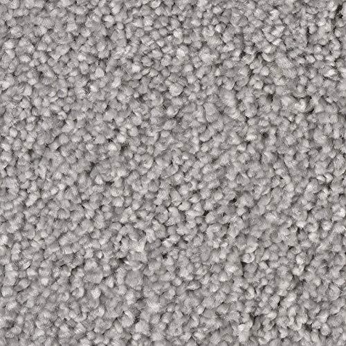 Teppichboden Frise in Perlgrau | weiche & strapazierfähige Auslegeware | zugeschnittener Bodenbelag | Teppich Langflor in der Größe 125x400 cm | gemütliche Teppichfliesen