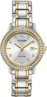 Citizen Women's Solar Powered Wrist watch, Leather Strap analog Display and Leather Strap, FE1174-50A