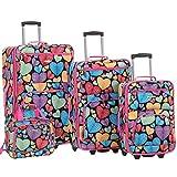 Rockland Jungle Softside Upright Luggage Set, New Heart,...