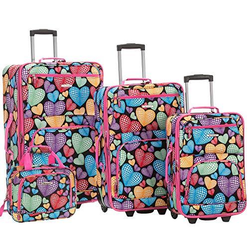 Rockland Jungle Softside Upright Luggage Set, New Heart, 4-Piece (14/29/24/28)