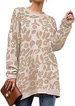 PRETTYGARDEN Women's Casual Leopard Print Long Sleeve Crew Neck Oversized Pullover Knit Sweaters Tops