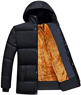 Fubotevic Men Winter Warm Stand Collar Velvet Down Quilted Jacket Coat Outwear