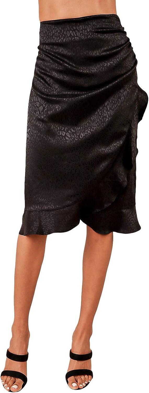 Sugar Lips Women's Faux Wrap Ruffle Midi Skirt