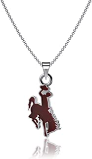 Dayna Designs Wyoming University Silver Charm Necklace, Bucking Horse Steamboat Logo - Sterling Silver Jewelry, Officially Licensed NCAA Gift with Enamel. Rhodium Plated, 10mm Small for Women/Girls