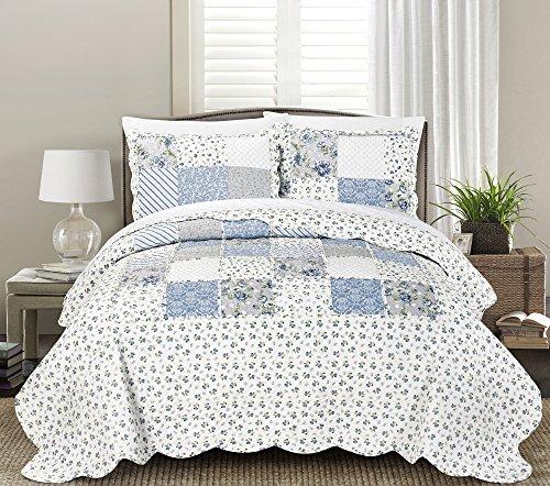 Blissful Living Juego de edredón de lujo con volantes y fundas de almohada, ligera, suave, para todas las estaciones, disponible en...