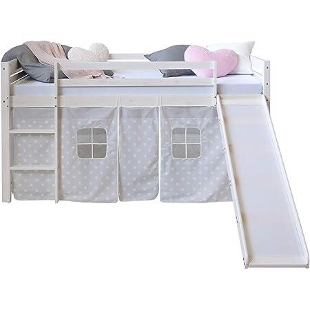 Homestyle4u 1884, Loft Bed White 90x200 Children avec échelle coulissante Rideau étoilé, Bois